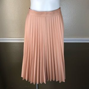 Zara soft coral pleated midi skirt